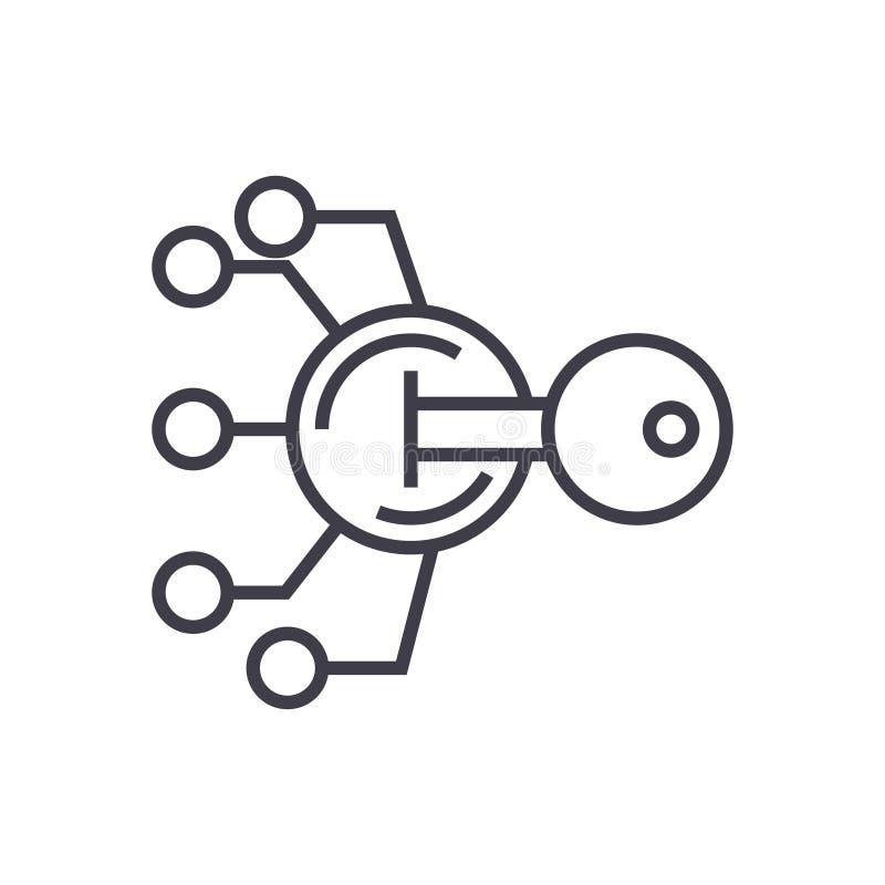 Utajnianie, kryptografii kluczowego pojęcia wektoru cienka kreskowa ikona, symbol, znak, ilustracja na odosobnionym tle ilustracja wektor