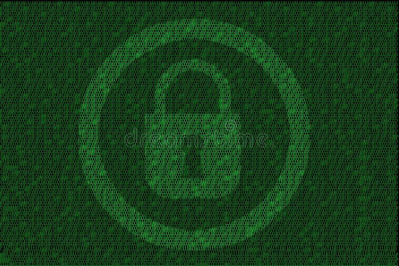 Utajniony cyfrowy kędziorek z zielonym binarnym kodem royalty ilustracja