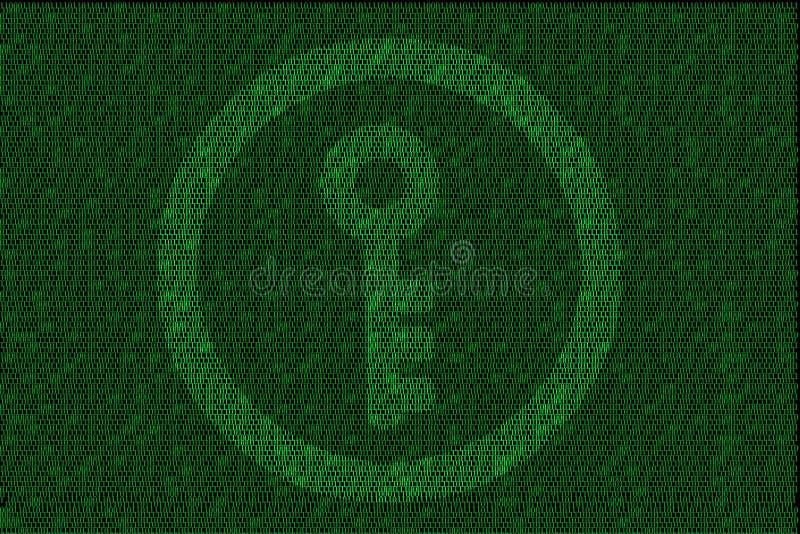 Utajniony cyfrowy klucz z zielonym binarnym kodem royalty ilustracja