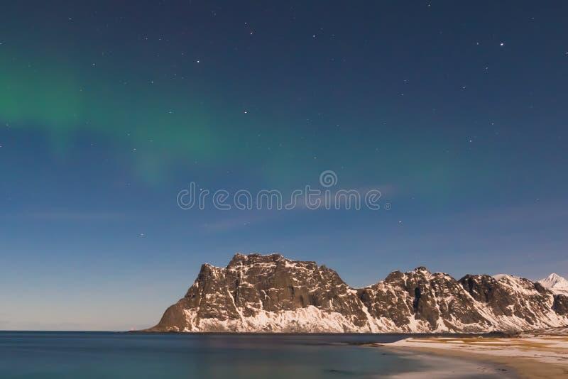 Utakleiv海滩, Lofoten海岛,挪威 免版税库存照片
