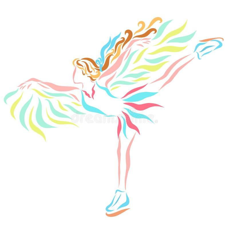 Utalentowana oskrzydlona postaci łyżwiarka na lodzie royalty ilustracja