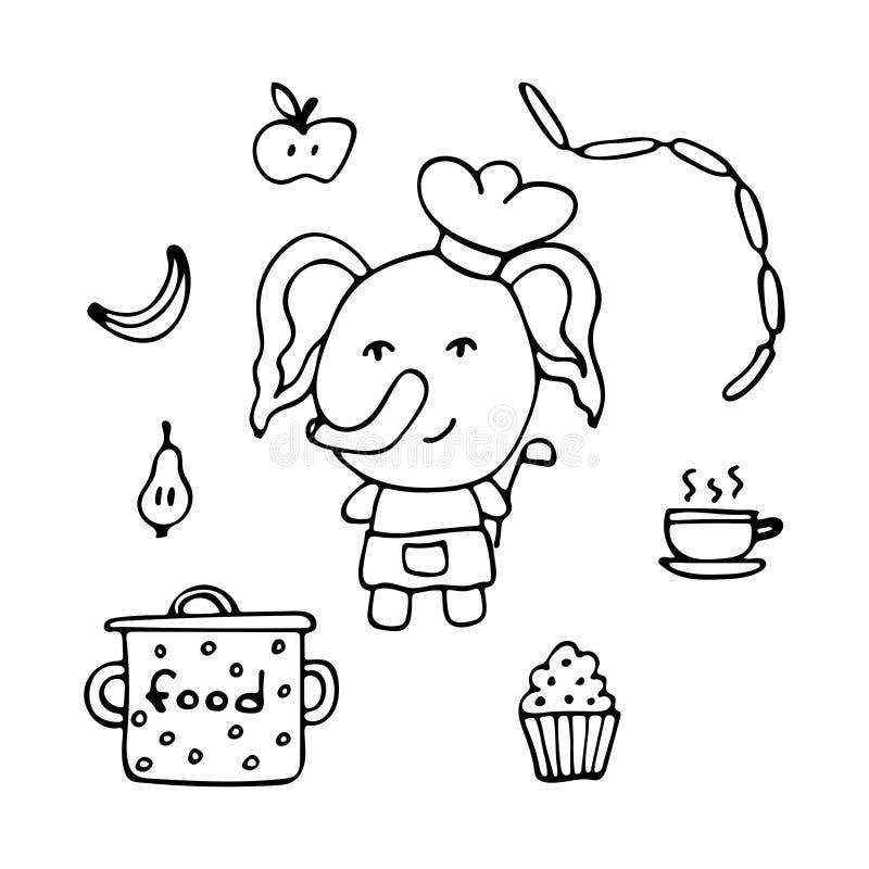 Utalentowany słoń kucharz z porci łyżką, produktami i ilustracji