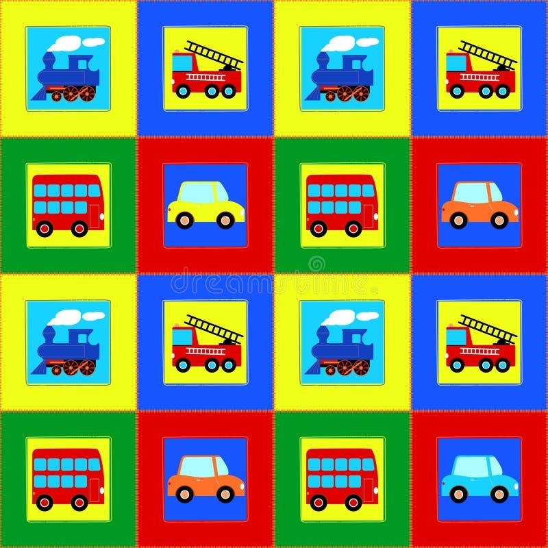 Utbilda, bussa, bil- och brandden sömlösa modellen för lastbilbarn stock illustrationer