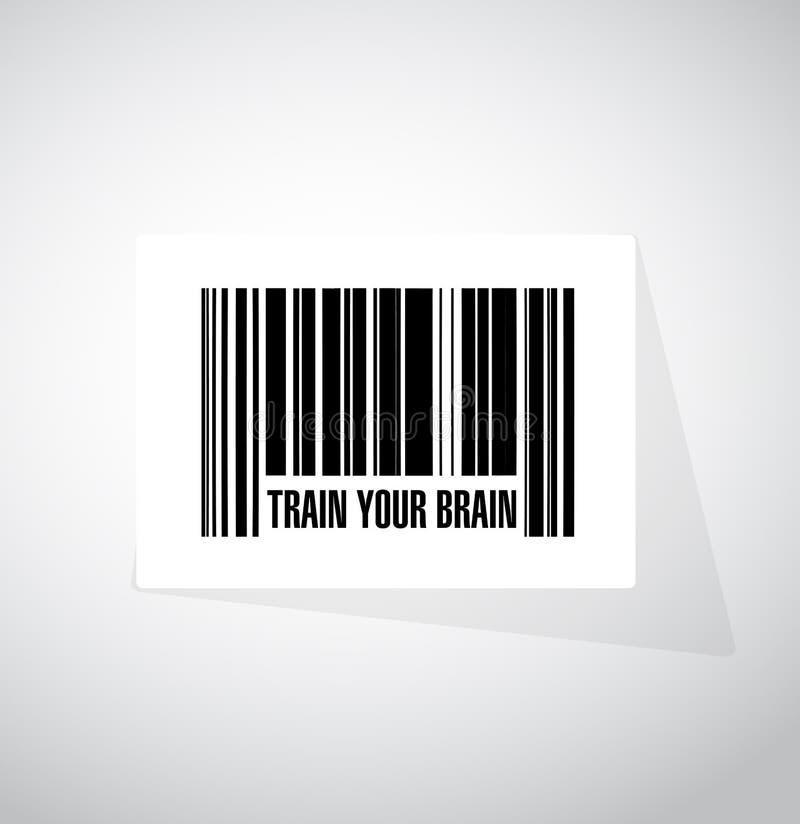 utbilda ditt begrepp för hjärnbarcodetecknet royaltyfri illustrationer