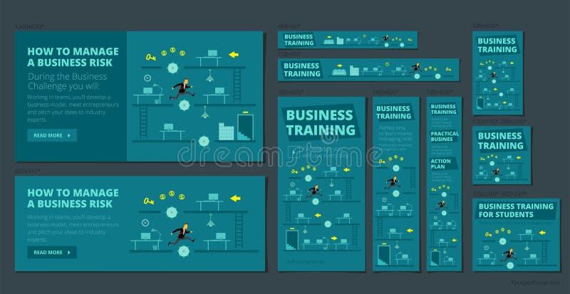 Utbildande lek och konkurrens för affär En uppsättning av baner alla standarda format för rengöringsduk Mörkt - blå version royaltyfri illustrationer