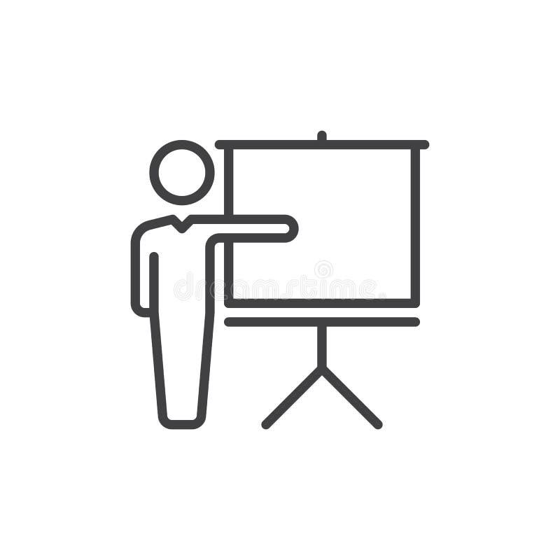 Utbildande linje symbol, översiktsvektortecken, linjär stilpictogram som isoleras på vit Symbol logoillustration Redigerbar slagl stock illustrationer