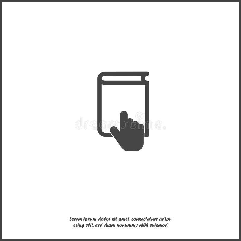 Utbildande symbolsymbol för vektor Distansutbildning lära online Handen öppnar boken på vit isolerad bakgrund vektor illustrationer