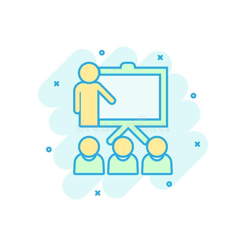 Utbildande utbildningssymbol i komisk stil Pictogram för illustration för tecknad film för folkseminariumvektor Affär för skolakl vektor illustrationer