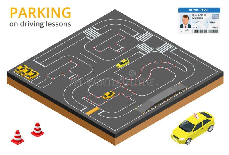 Utbildat i körskolabegreppsparkering på körningskurser och provdrev stock illustrationer