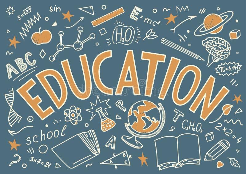 Utbildning Den drog handen skissar och bokstäver stock illustrationer