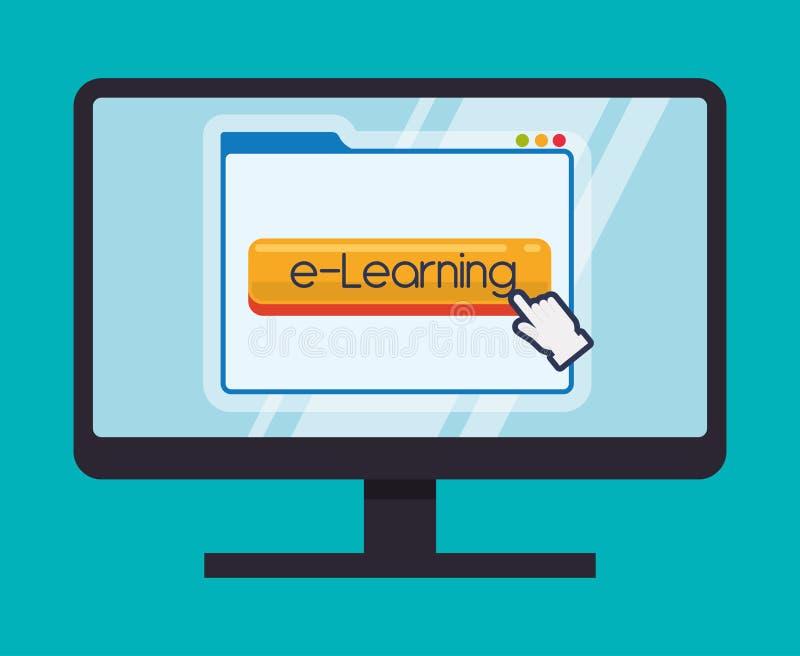 Utbildning direktanslutet eller elearning royaltyfri illustrationer
