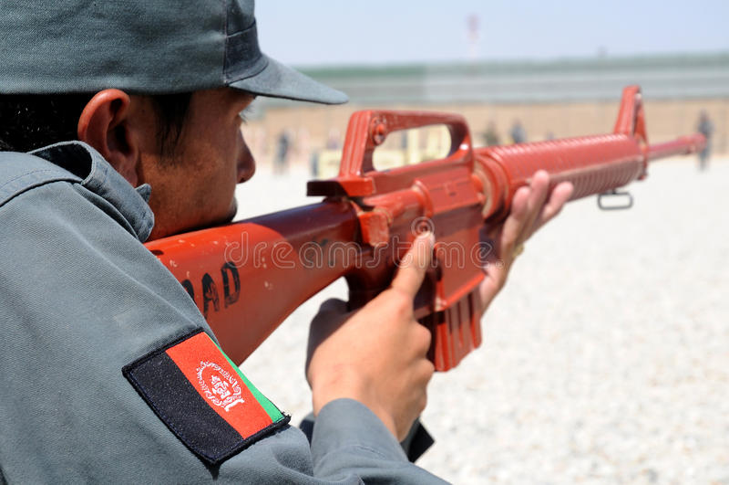 utbildning för 2 afghan polisar s arkivfoto