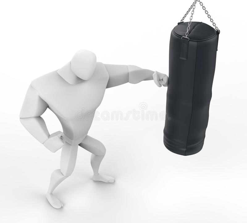 utbildning för boxare 3D på tung påse - bästa sikt royaltyfri illustrationer