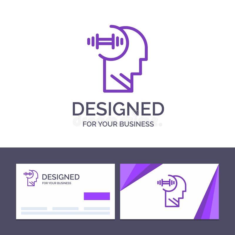 Utbildning för idérik mall för affärskort och logo, Brian, hantel, huvudvektorillustration stock illustrationer