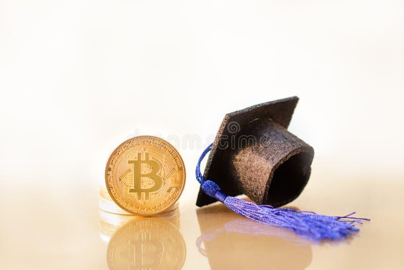 Utbildning i blockchain och bitcoin arkivfoton