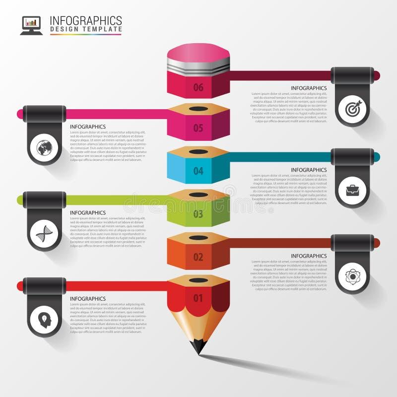 Utbildning Infographic med blyertspennan Momentdiagram som för delstiker för design den trevliga mallen som använder den din vekt vektor illustrationer