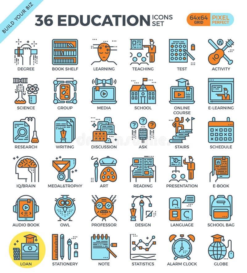 Utbildning & lära perfekta översiktssymboler för PIXEL royaltyfri illustrationer
