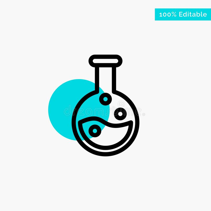 Utbildning labb, symbol för vektor för punkt för cirkel för laboratoriumturkosviktig vektor illustrationer