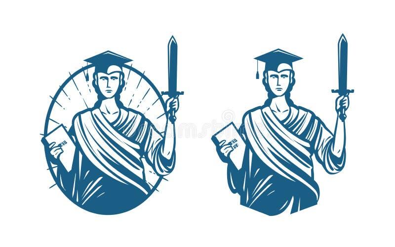 Utbildning logo för laglig service Notarius publicu, rättvisa, advokatsymbol eller symbol också vektor för coreldrawillustration royaltyfri illustrationer