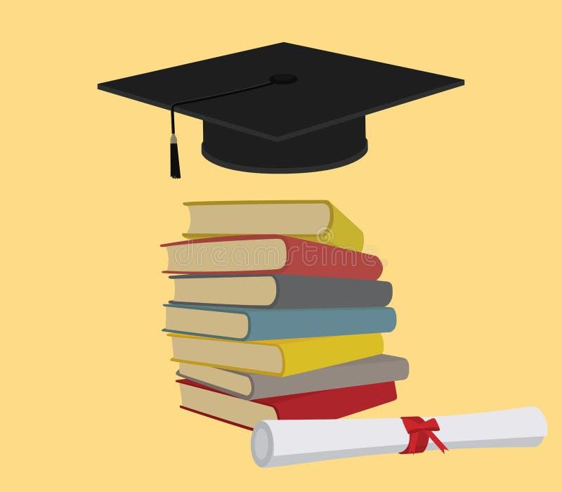 Utbildning med bokbunten och kandidatavläggande av examenlocket stock illustrationer