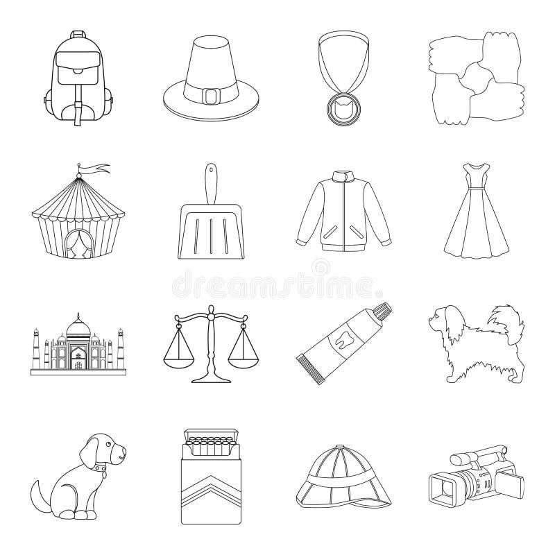 Utbildning, nikotin, jakt och annan rengöringsduksymbol i översikt utformar mode religion, skönhetsymboler i uppsättningsamling vektor illustrationer