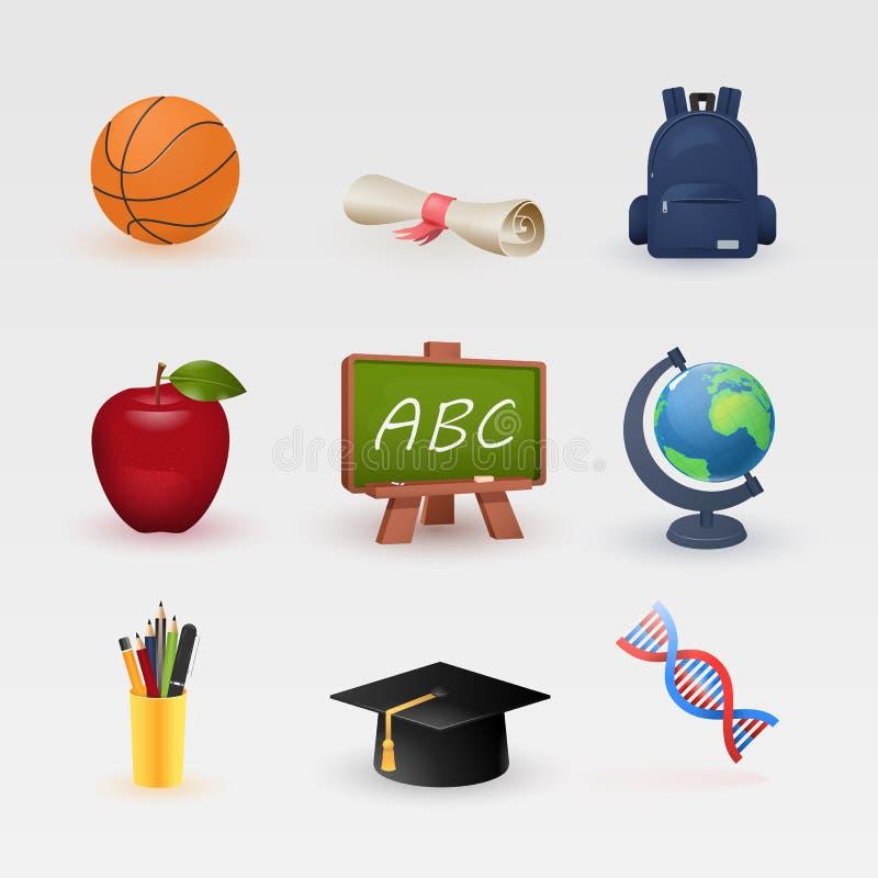 Utbildning och att lära färgsymboler ställde in, den moderna vektorsamlingen stock illustrationer