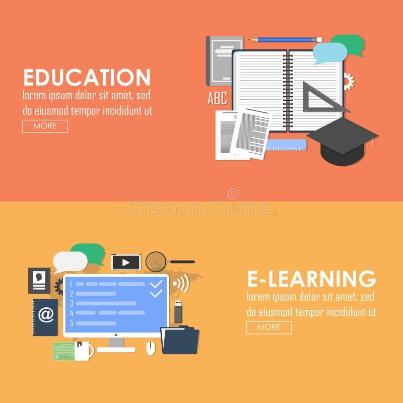 Utbildning och e-lära baner royaltyfri illustrationer