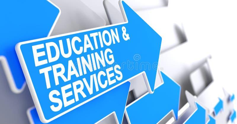 Utbildning och utbildningsservice - text på blå pil 3d vektor illustrationer