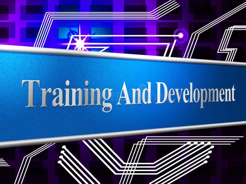 Utbildning och utveckling föreställer att lära buildouten och Webinar stock illustrationer