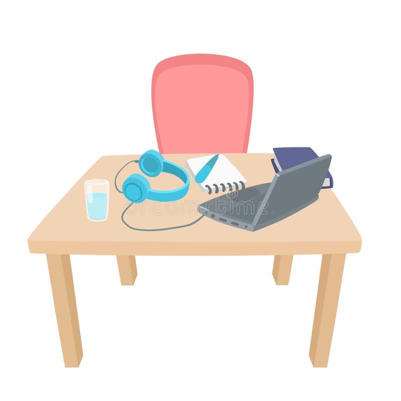 utbildning online Arbetsplats med bärbara datorn, hörlurar, böcker, penna, vatten, anteckningsbok stock illustrationer