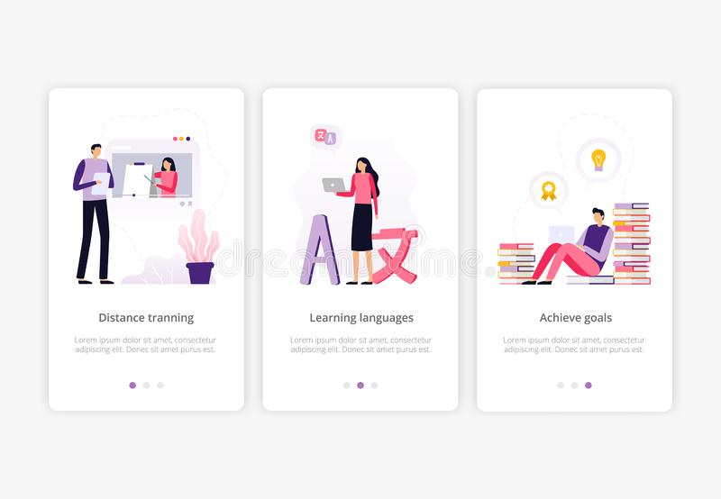 utbildning online Folk som arbetar med bärbara datorn och håller ögonen på en video presentation vektor illustrationer
