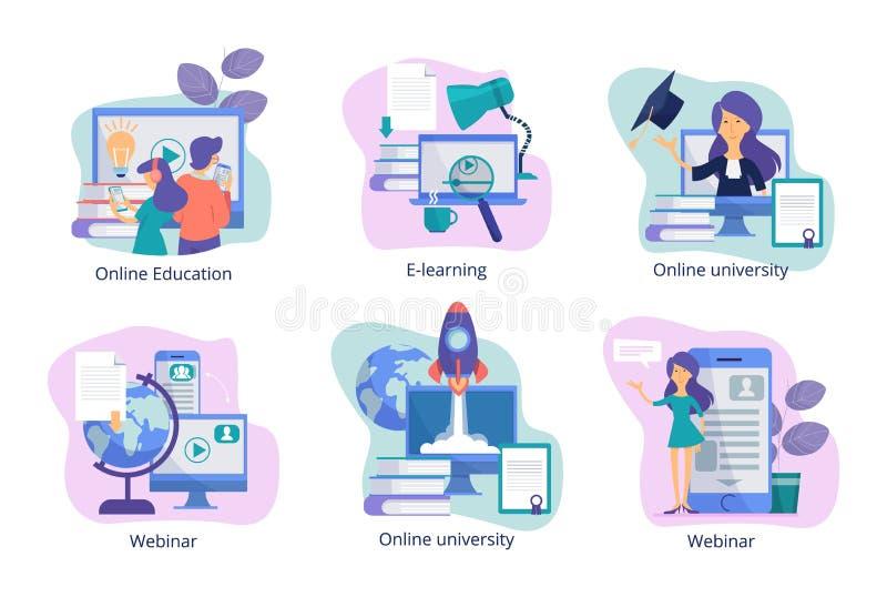 utbildning online Webinars och kurser för tutorials för utbildning för rengöringsdukstudieavstånd för studenter från lärarevektor royaltyfri illustrationer