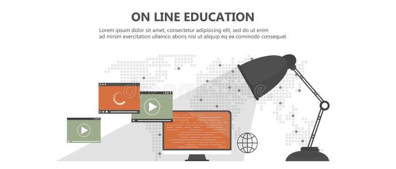 Utbildning utbildning, på den orubbliga som linjen e-lär begrepp Bärbar dator med video på linjen utbildning på skärmen, med symb vektor illustrationer