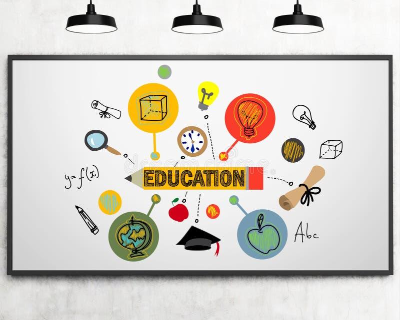 Utbildning skissar på en whiteboard stock illustrationer