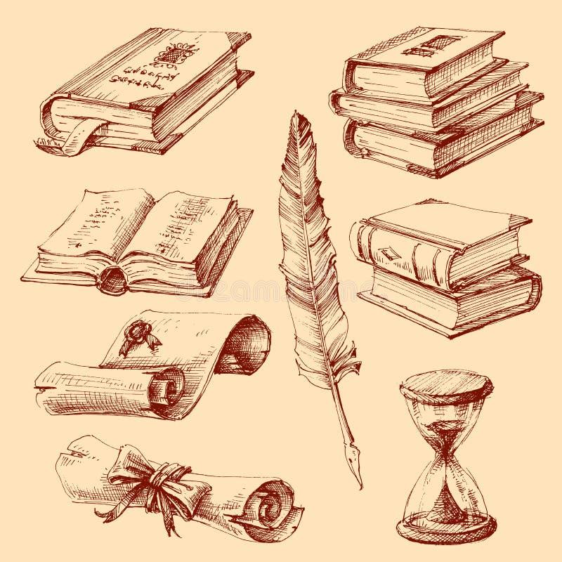 Utbildning, skola och avläggande av examenuppsättning royaltyfri illustrationer