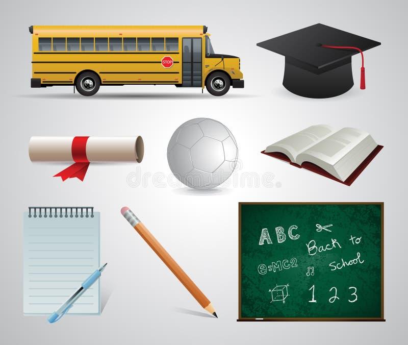Utbildning skola universitetar Plana symbolsuppsättning och illustrationer för vektor stock illustrationer