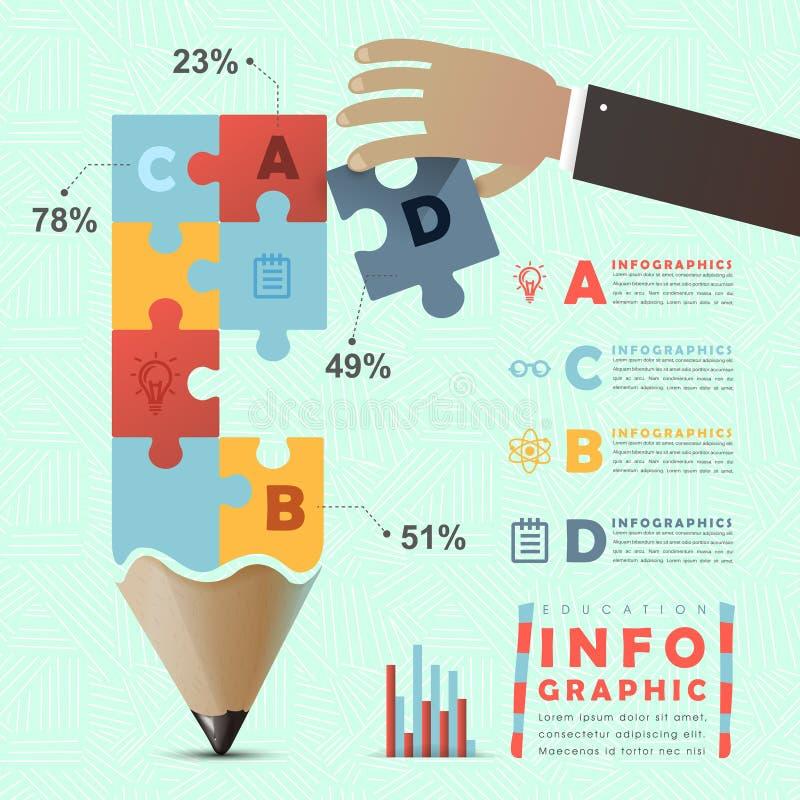 Utbildning som är infographic med den färgrika pusselblyertspennan stock illustrationer