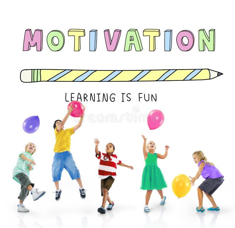Utbildning som lär, är det roliga barndiagrambegreppet royaltyfria bilder