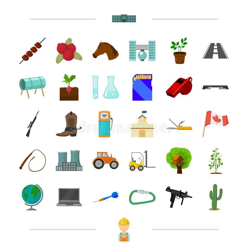 Utbildning, trans., vapen och annan rengöringsduksymbol i tecknad film utformar lek Kanada, växa för grönsak, konditionsymboler i stock illustrationer