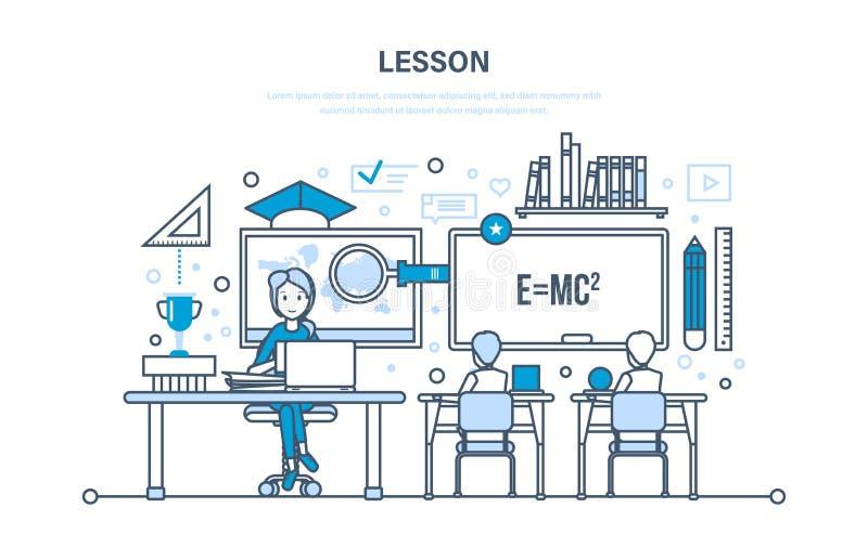 Utbildning utbildning som lär, skola, universitetkurs, kunskap, vetenskap, undervisning, expertis royaltyfri illustrationer