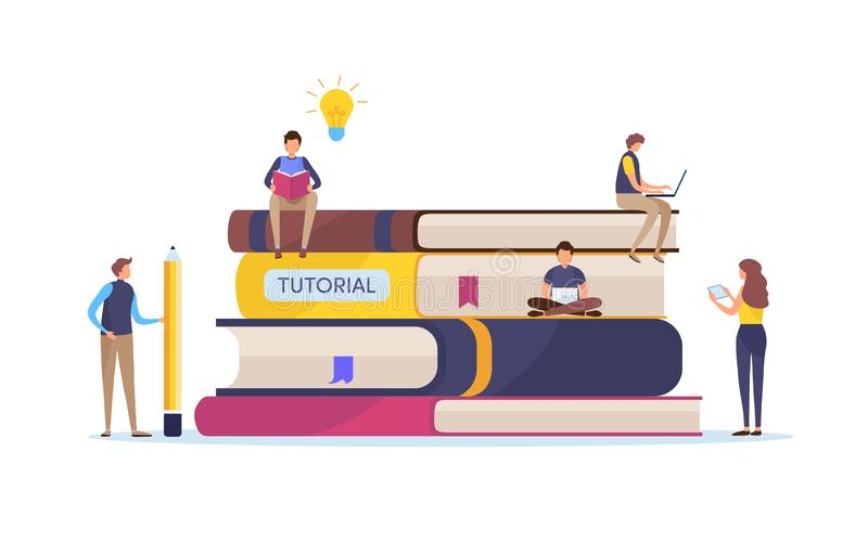 Utbildning utbildningskurs Online-studie Tutorials och e-att lära, smart kunskap Diagram för tecknad filmminiatyrillustrationvekt royaltyfri illustrationer