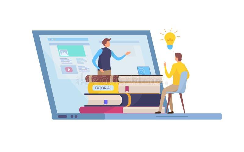Utbildning utbildningskurs Online-studie Tutorials och e-att lära, smart kunskap Diagram för tecknad filmminiatyrillustrationvekt vektor illustrationer