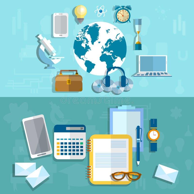 Utbildning, vetenskap och forskning, medicinsk teknologi, vektorbaner stock illustrationer