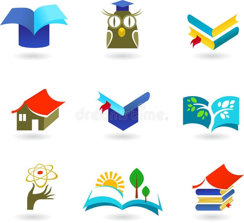 Utbildnings- och skolgångsymbolsset royaltyfri illustrationer