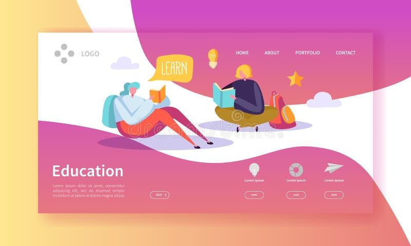 Utbildnings- och vetenskapslandningsida Utbildning kurser som lär med den plana mallen för folkteckenWebsite stock illustrationer