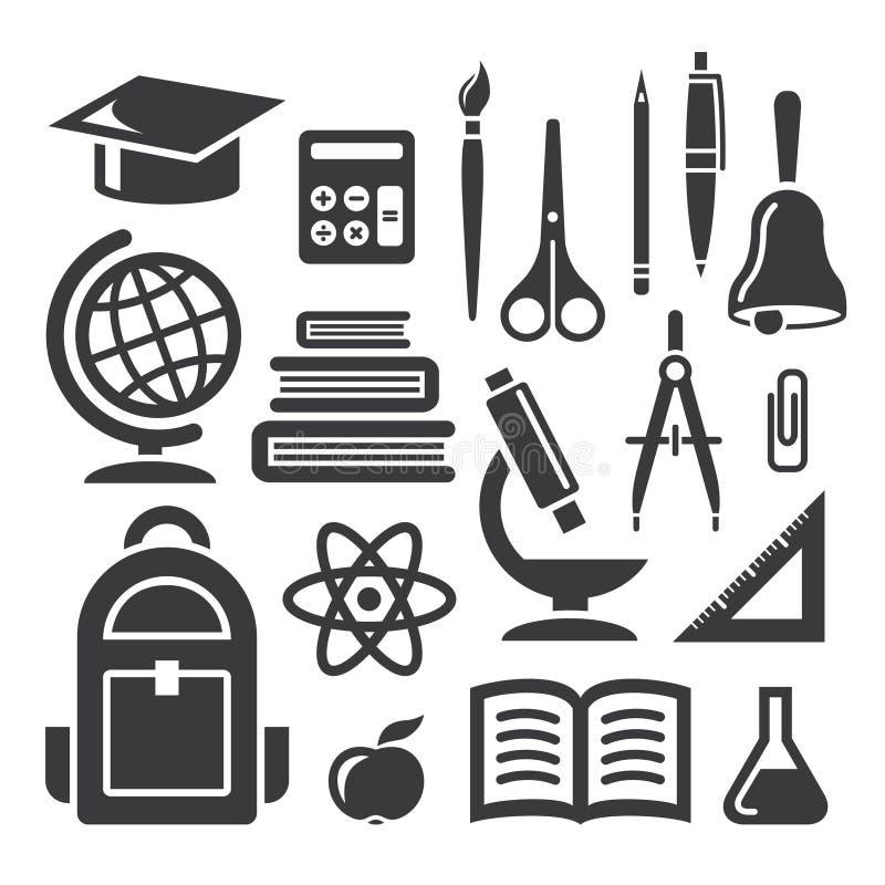 Utbildnings- och vetenskapssymboler stock illustrationer