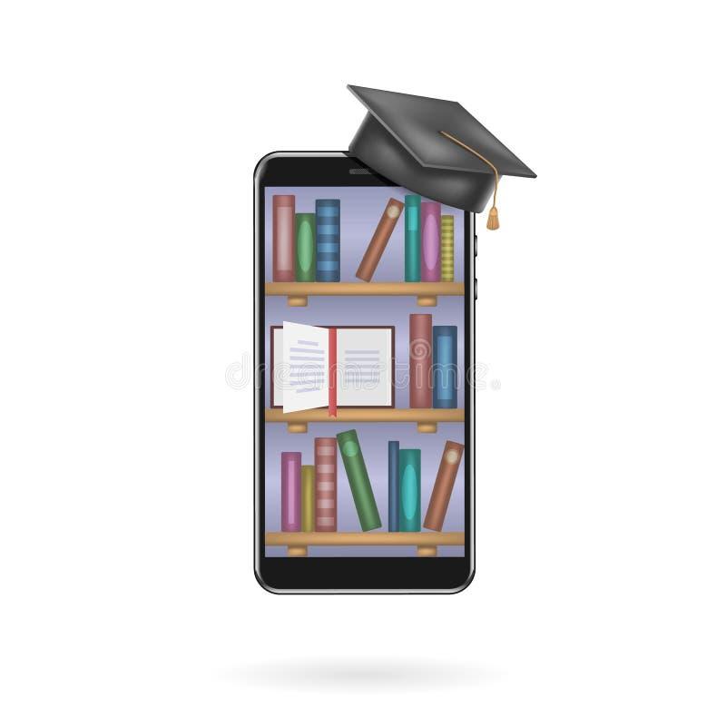 Utbildningsapp, bokhyllor med böcker på smartphoneskärmen Online-digitalt arkiv Modernt begrepp f?r reng?ringsdukbaner, webbplats vektor illustrationer