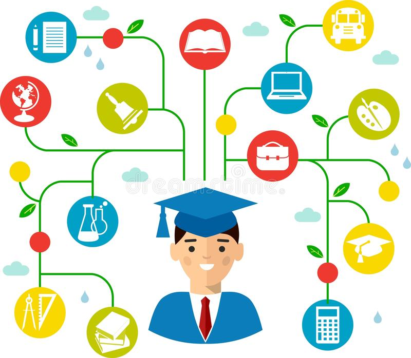 Utbildningsbegrepp av studenter i avläggande av examenkappa och akademikermössa stock illustrationer