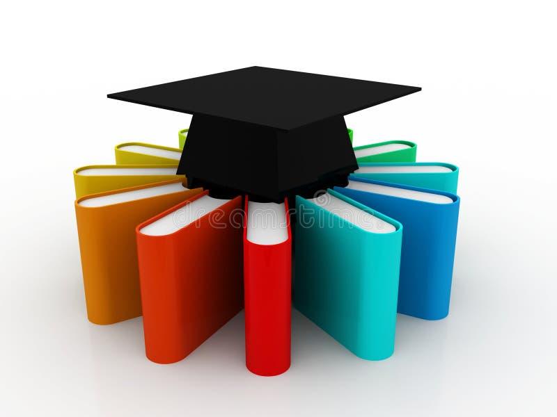 Utbildningsbegrepp, avläggande av examenlock och bunt av färgrika böcker på digital bakgrund 3d framför vektor illustrationer