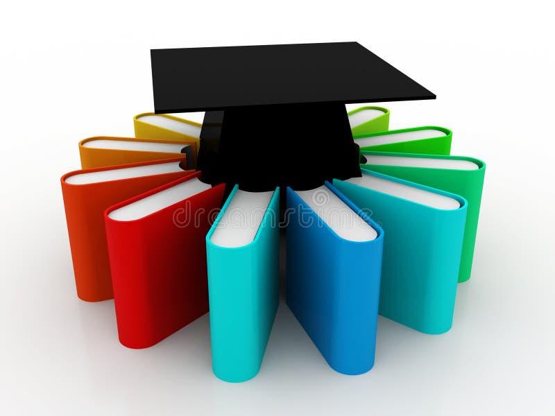 Utbildningsbegrepp, avläggande av examenlock och bunt av färgrika böcker på digital bakgrund 3d framför stock illustrationer